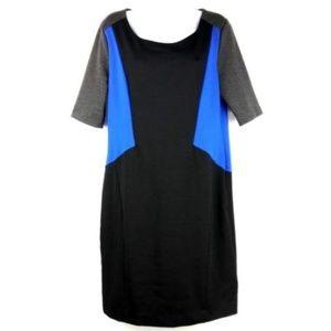 Dana Buchman Dress Size 10 Black Blue Gray